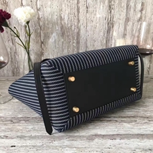 Celine Mini Belt Bag In Navy And White Striped Textile