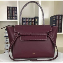 Celine Mini Belt Tote Bag In Bordeaux Calfskin