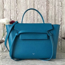 Celine Mini Belt Tote Bag In Cyan Epsom Leather