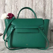 Celine Mini Belt Tote Bag In Green Epsom Leather