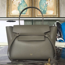 Celine Mini Belt Tote Bag In Grey Epsom Leather
