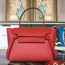 Celine Mini Belt Tote Bag In Red Epsom Leather