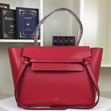 Celine Small Belt Tote Bag In Red Calfskin