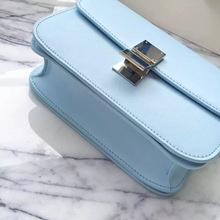 Celine Medium Box Bag In Aqua Calfskin