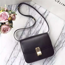 Celine Medium Box Bag In Black Box Calfskin