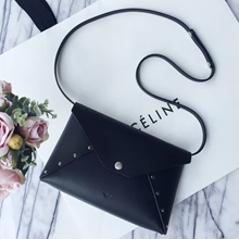 Celine Black Biker Evening Clutch On Strap