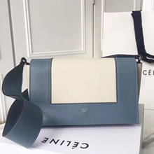 Celine Medium Frame Shoulder Bag In Blue And Ivory Leather