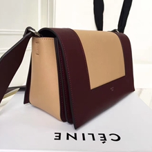 Celine Medium Frame Shoulder Bag In Bordeaux And Beige Leather