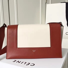 Celine Medium Frame Shoulder Bag In Brick And White Leather