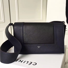 Celine Medium Frame Shoulder Bag In Navy And Black Leather