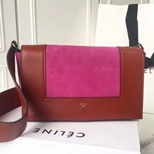 Celine Medium Frame Shoulder Bag In Rosy Suede Leather