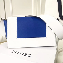 Celine Medium Frame Shoulder Bag In White And Blue Leather