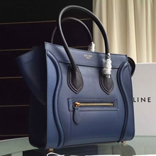 Celine Bicolor Micro Luggage Bag In Navy Blue Calfskin