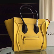 Celine Bicolor Micro Luggage Bag In Yellow Calfskin
