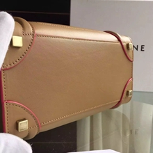 Celine Micro Luggage Bag In Apricot Calfskin