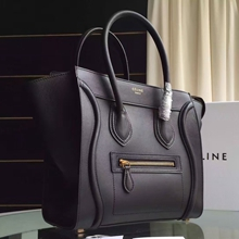Celine Micro Luggage Bag In Black Calfskin