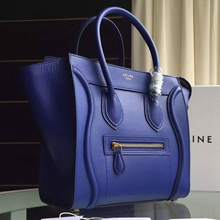 Celine Micro Luggage Bag In Blue Calfskin
