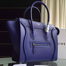 Celine Micro Luggage Bag In Blue Grained Leather