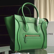 Celine Micro Luggage Bag In Green Calfskin