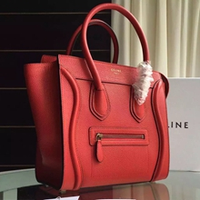 Celine Micro Luggage Bag In Red Grained Leather