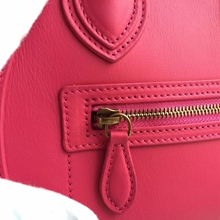 Celine Micro Luggage Bag In Rose Red Calfskin