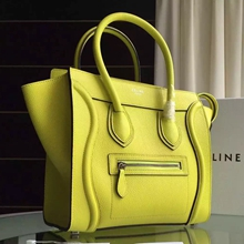 Celine Micro Luggage Bag In Yellow Grained Leather