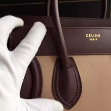 Celine Tricolor Micro Luggage Bag In Beige Calfskin