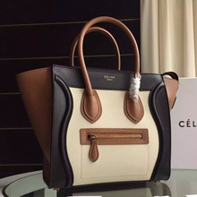 Celine Tricolor Micro Luggage Bag In Ivory Calfskin