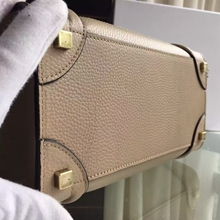 Celine Bicolor Mini Luggage Bag In Beige Grained Leather