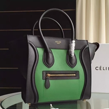 Celine Bicolor Mini Luggage Bag In Black/Green Calfskin