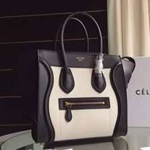 Celine Bicolor Mini Luggage Bag In Ivory Calfskin