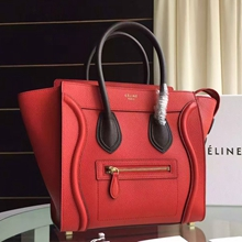 Celine Bicolor Mini Luggage Bag In Red Grained Leather