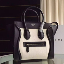 Celine Bicolor Mini Luggage Bag In White Grained Leather