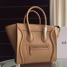 Celine Mini Luggage Bag In Apricot Calfskin