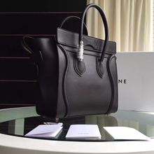 Celine Mini Luggage Bag In Black Calfskin