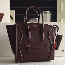 Celine Mini Luggage Bag In Burgundy Calfskin