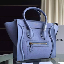 Celine Mini Luggage Bag In Celeste Grained Leather