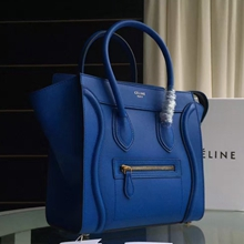 Celine Mini Luggage Bag In Electric Blue Calfskin