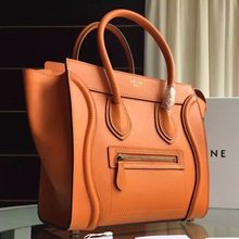 Celine Mini Luggage Bag In Orange Calfskin