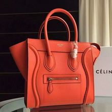 Celine Mini Luggage Bag In Piment Grained Leather