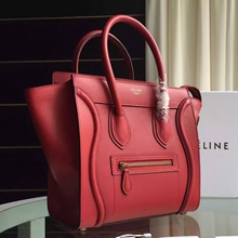Celine Mini Luggage Bag In Red Calfskin