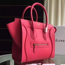 Celine Mini Luggage Bag In Rose Red Calfskin
