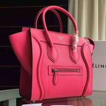 Celine Mini Luggage Bag In Rose Red Grained Leather
