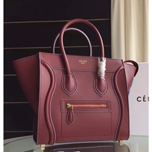 Celine Mini Luggage Bag In Ruby Calfskin