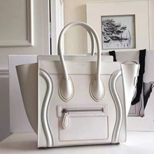 Celine Mini Luggage Bag In White Calfskin