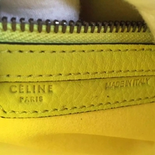 Celine Mini Luggage Bag In Yellow Grained Leather