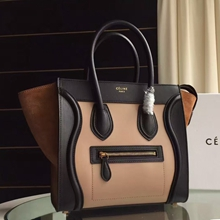 Celine Tricolor Mini Luggage Bag In Apricot Calfskin