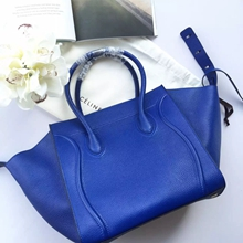 Celine Phantom Luggage Bag In Blue Grained Leather