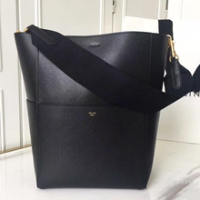 Celine Sangle Seau Bag In Black Goatskin