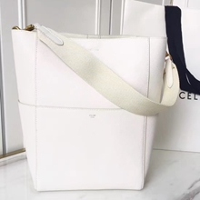 Celine Sangle Seau Bag In White Goatskin